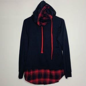 Daedryk Tops - Black & Red Plaid Layered Hoodie -Needs Hem Repair